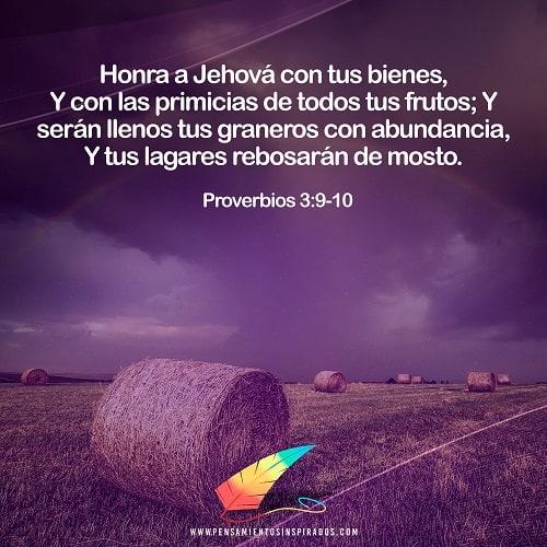 Honra a Jehová con tus bienes, Y con las primicias de todos tus frutos;  10Y serán llenos tus graneros con abundancia, Y tus lagares rebosarán de mosto.