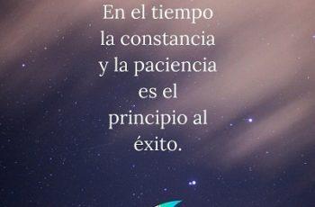 La constancia y la paciencia es el principio al éxito.