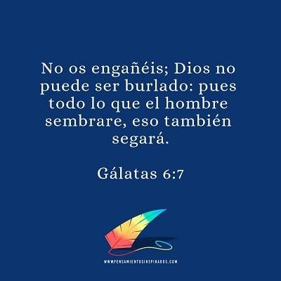No os engañéis; Dios no puede ser burlado: pues todo lo que el hombre sembrare, eso también segará.