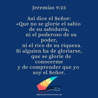 Si alguien ha de gloriarse, que se gloríe de conocerme y de comprender que yo soy el Señor