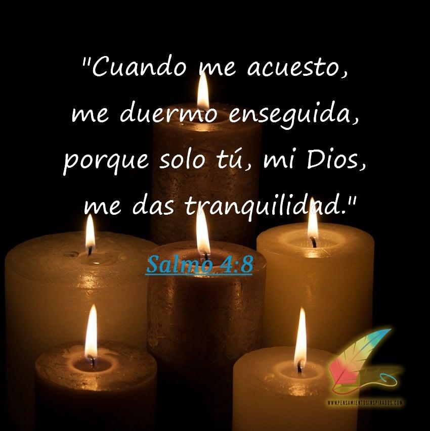 Cuando me acuesto, me duermo enseguida, porque solo tú, mi Dios, me das tranquilidad.