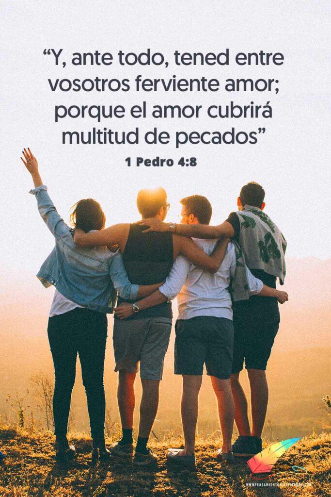 Y, ante todo, tened entre vosotros ferviente amor; porque el amor cubrirá multitud de pecados. 1 Pedro 4:8